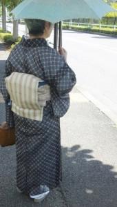 絹上布に夏紬帯